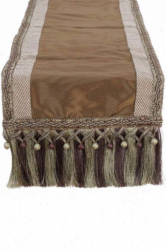 """polished Table Runner - 12""""hx72""""w, Chocolate Brown"""