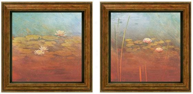 Pond Lilies Framed Wall Art - Set Of 2 - Sdt Of Two, Blue
