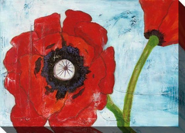 Poppies On Blue I Canvas Wall Art - I, Red