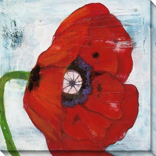 Poppies On Blue Ii Canvas Wal Art - Ii, Red