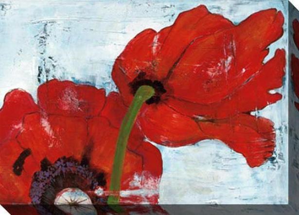 Poppies On Blue Iii Canvas Wall Art - Iii, Red