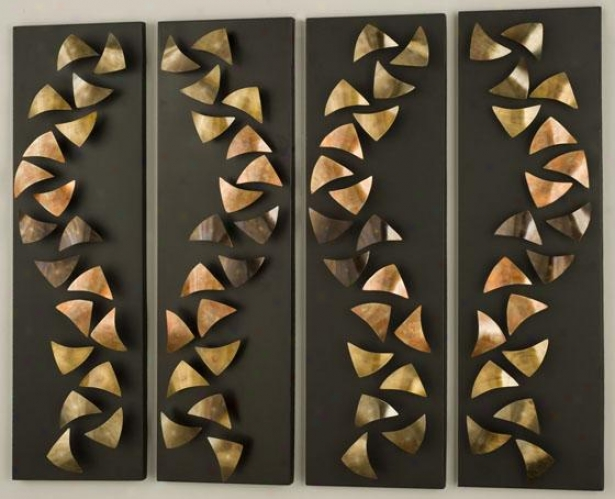 """progression Wall Art - Set Of 4 - Set 36""""hx42""""w, Copper"""