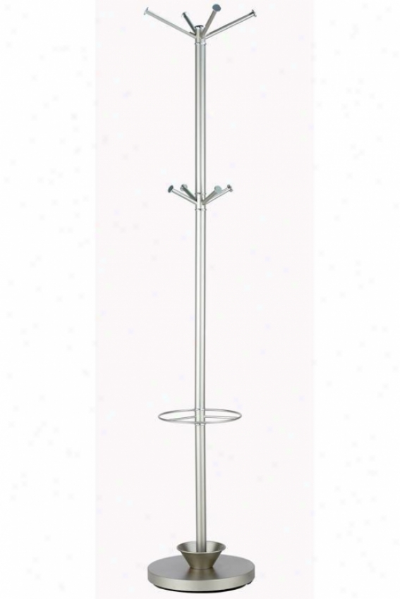 """quatro Umbrella Stand And Coat Rack - 70""""hx13""""d, Champagne Steel"""