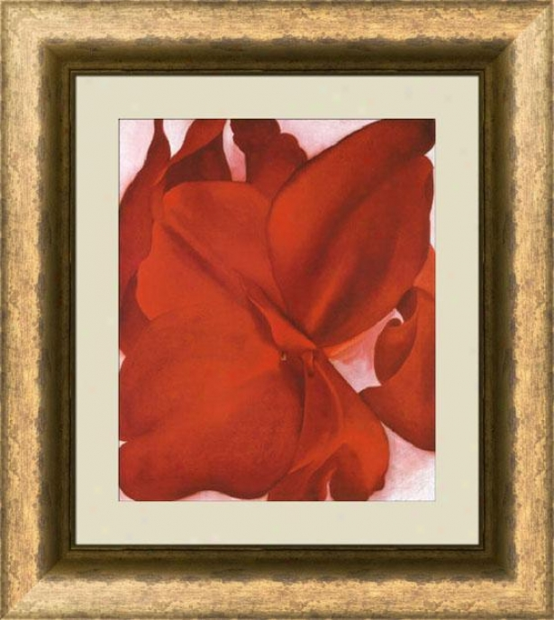 """red Cannas Framed Wall Art - 37""""hx33""""w, Trns Gld/brz Fm"""