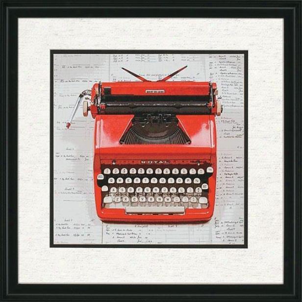"""red Typewriter Wall Art - 26""""hx26""""w, Red"""