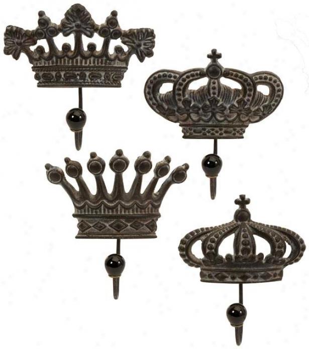 Regent's Put a ~ upon Hooks - Set Of 4, Brown