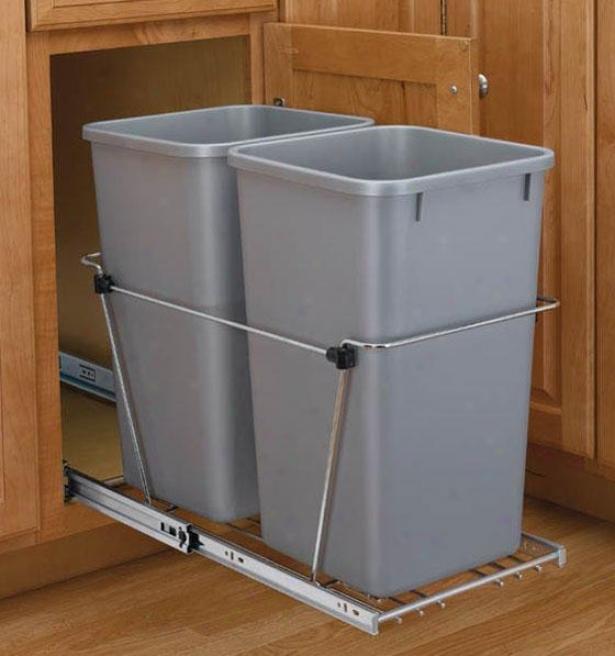 Rev-a-shelf Double Quart Waste Containers - 27 Quart, Silver