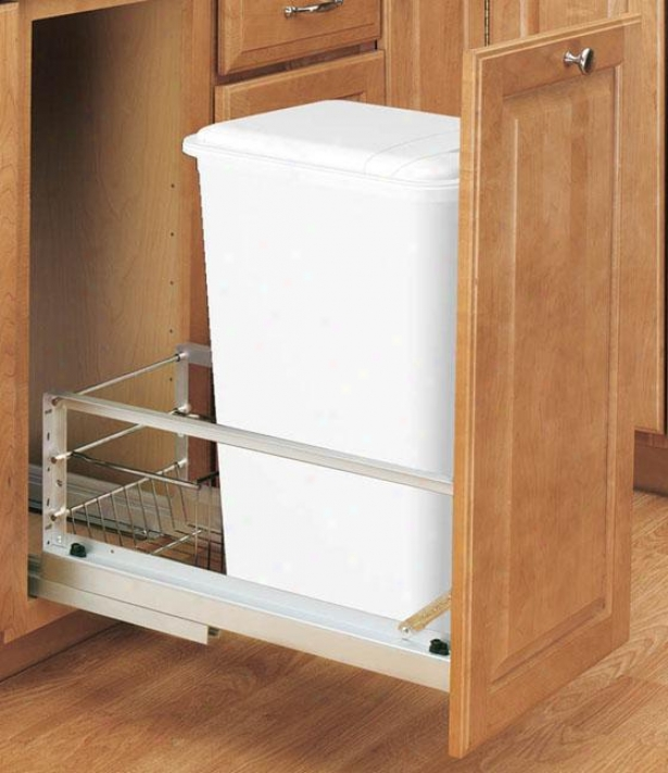 """rev-a-shelf Premiere 50-quart Waste Container - 23h X11w X12""""d, Silver"""