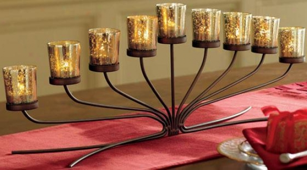 """richmond Candelabra - 9.5""""hx30""""l, Bronze"""