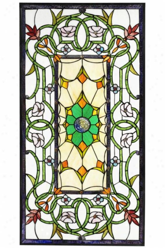 """richmond Stained Art Glass Window Panel Large Rectangle - 40""""""hx20""""w, Burgundy"""