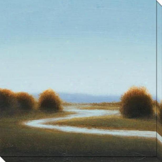 River's Journey Ii Canvas Wall Art - Ii, Blue