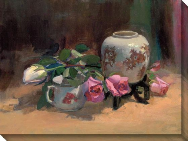 """rose Shadow Canvas Wall Art - 36""""hx48""""w, Brown"""