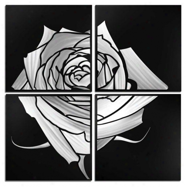 Rose Wall Sculpture - Set Of 4 - 47hx47wx2d, Gray Black