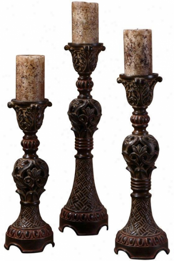 """rosina Candlestivks - Set Of 3 - 5""""diameter, Distrssd Walnut"""