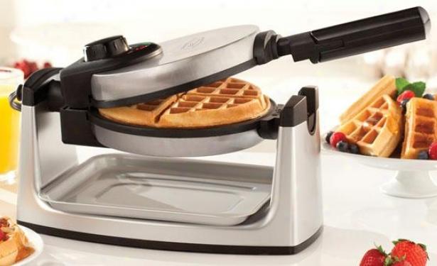 """rotating Waffle Maker - 10""""hx8""""wx16""""d, Silver"""