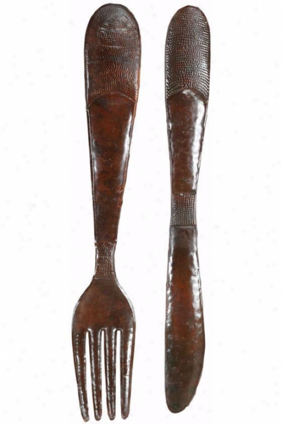 Rustic Knife And Fork Wall Sculpture - Set Of 2, Brown