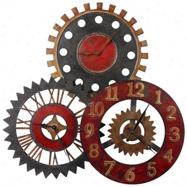 """""""rusty Movements Clock - 36""""""""hx36""""""""wx3.25"""""""", Multi"""""""