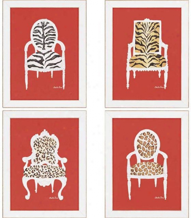 Safa5i Chairs Wall Trade - Set Of 4 - Set Of 4, Red