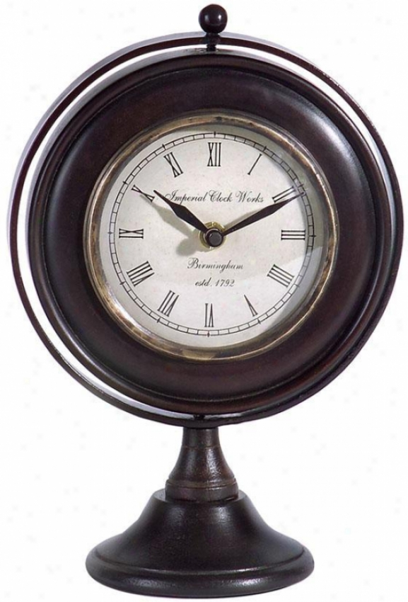 """sammy Desk Clock - 9.5""""h X 7""""w, Brown"""