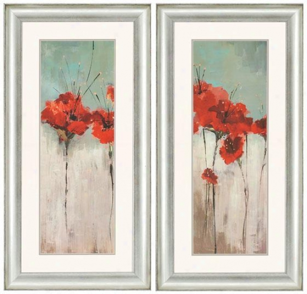 Scarlett's Garden Wall Creation of beauty - Set Of 2 - Set Of 2, Red