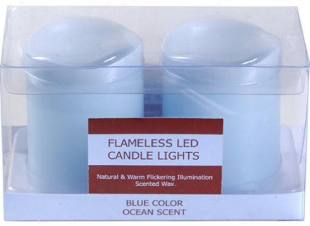 Scented Led Votives - Set Of 2 - Set Of Two, Turauoise