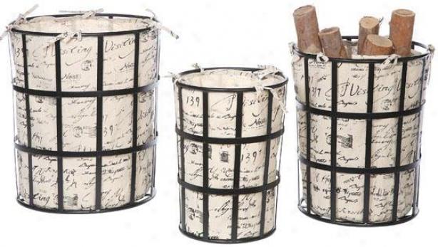 Script Nestijg Baskets - Set Of 3 - 17.75x17.75, Ivory
