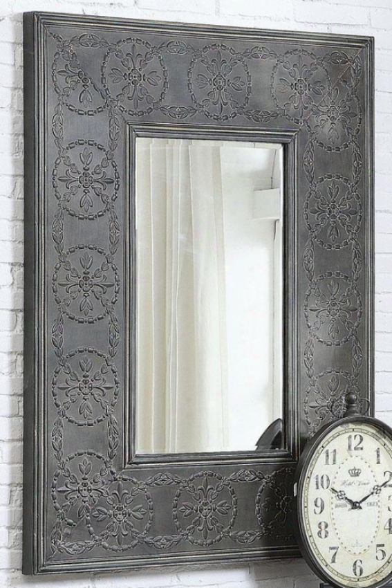 """scroll Metal Framed Mirror - 48.5""""hx37""""wx2""""d, Charcoal Gray"""