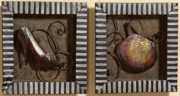 """shopping Trip Wall Sculptures - Set Of 2 - 15""""sqr X 1.5""""d, Ivory"""