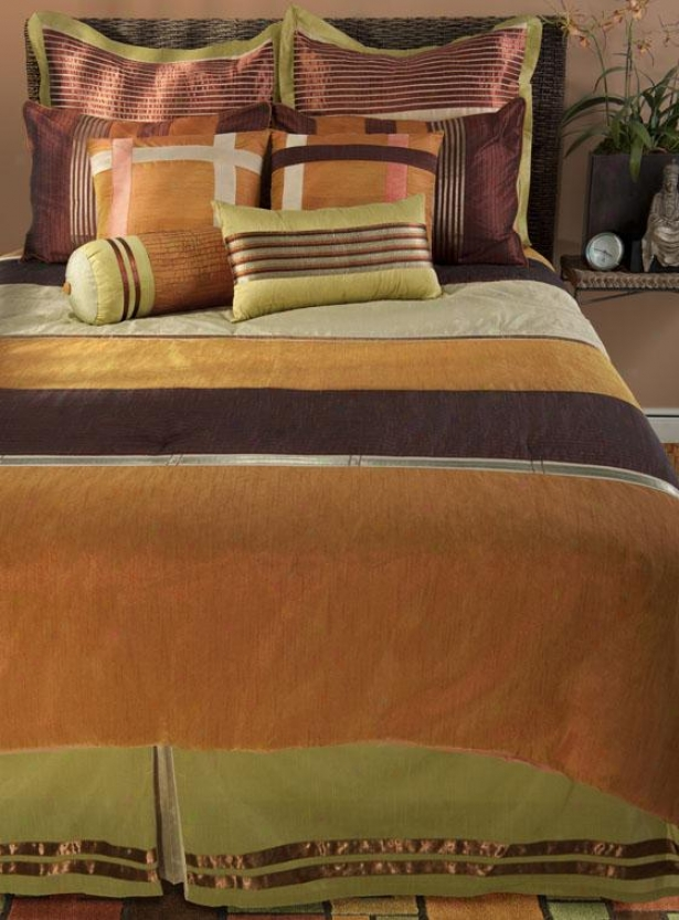 Siexta Bedding Set - King 11pc Set, Orange Multi