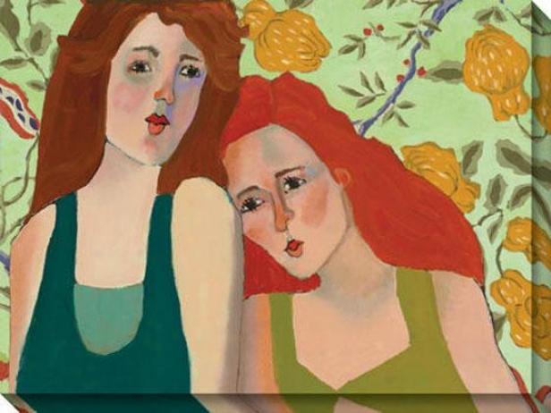 """sister By My Side Canvas Wall Art - 48""""hx36""""w, Multi"""