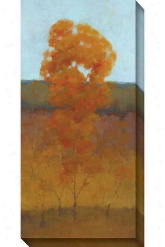 Single Tree Iii Canvas Wall Art - Iii, Orange