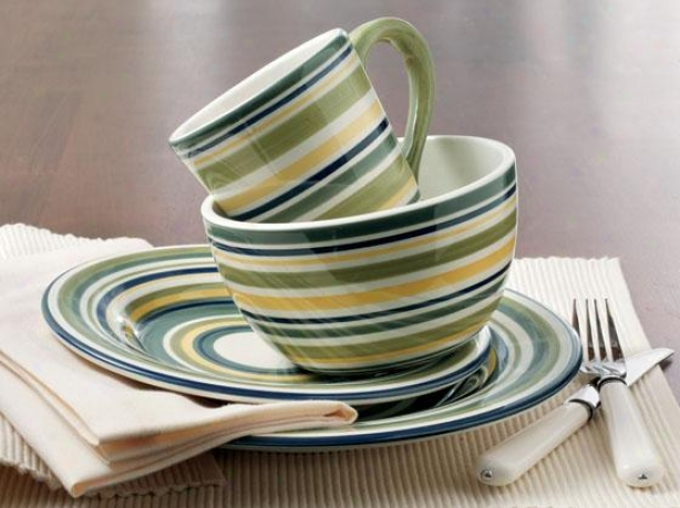 Sonoma Dinnerware Collection - Set Of 16 - 16-piece Set, Celadon Stripe