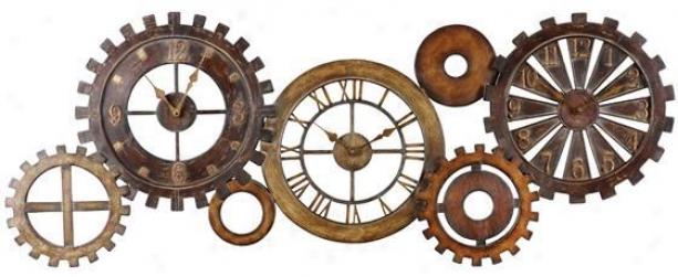 """""""spare Parts Clock - 21""""""""hx54""""""""w, Dark Chestnut"""""""