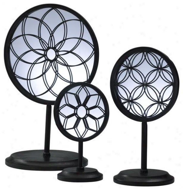 Spirograph Mirror Stands - Set Of Three, Dismal