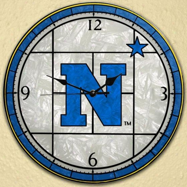 Sports Team College Stained Practical knowledge Glass Window Panel Clock - Collwge Teams, Navy Blue