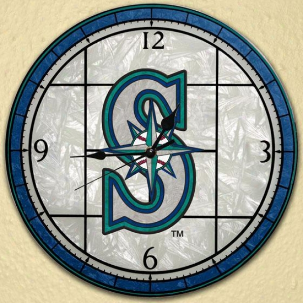 Sports Team Mlb Stained Art Glass Window Panel Clock - Mlb Teams, Seattle Mqrinrs