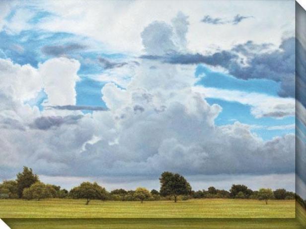 """spring Branch Weather Canvas Wall Art - 36""""hx84""""w, Blue"""