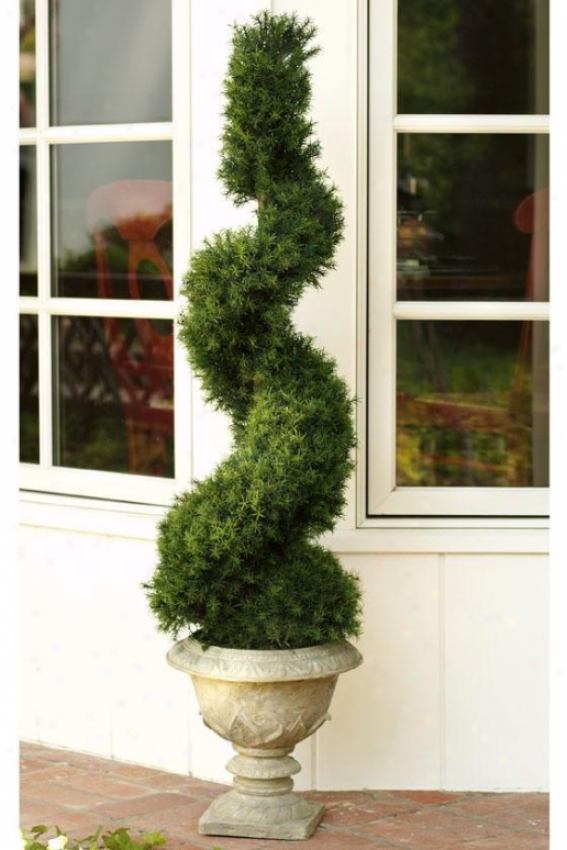 """springray Spiral Topiary With Resin Base - 55""""h, Gray Full Resin"""