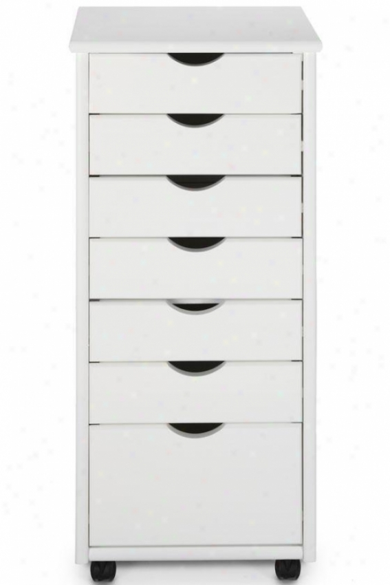 """stanton 6 + 1 Drawer Storage Cart - 35.5""""hx15.5""""w, White"""