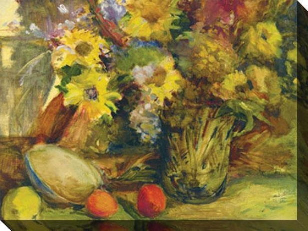 """""""still Biography With Fruit And Daisies Canvas Wall Art - 48""""""""hx36""""""""w, Yellow"""""""