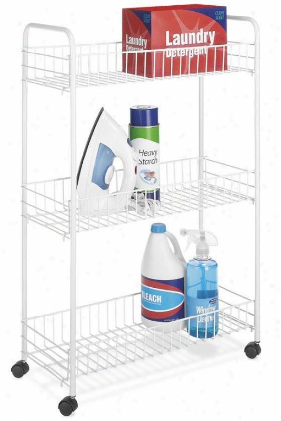 """storage White Wire 3-tier Laundry Cart - 32.5""""hx22""""w, White"""