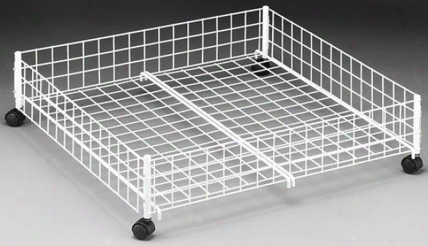 """storage WhiteW ire Underbed Cart - 6.5""""hx24""""w, White"""