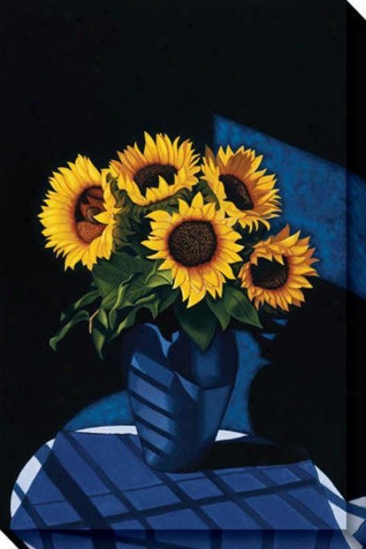 """""""studio Sunflowsrs Canvas Wall Art - 32""""""""hx48""""""""w, Blue"""""""