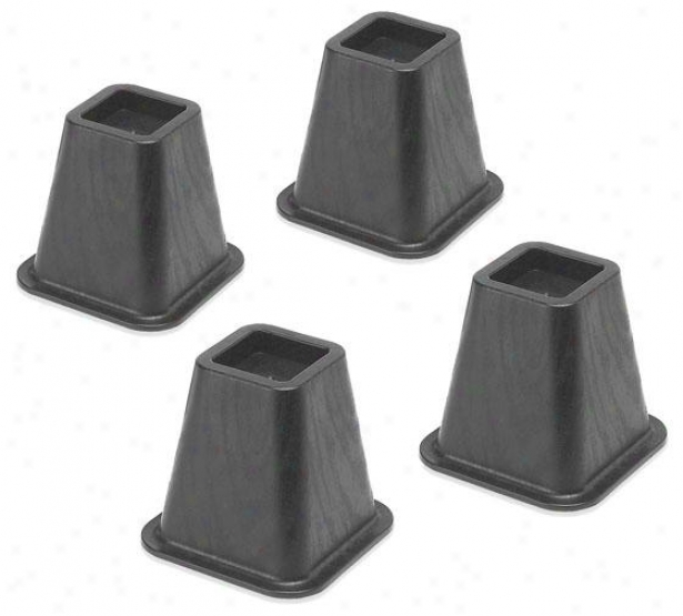 """Bold  Bed Risers - Set Of 4 - 6""""hx6.5""""square, Black"""