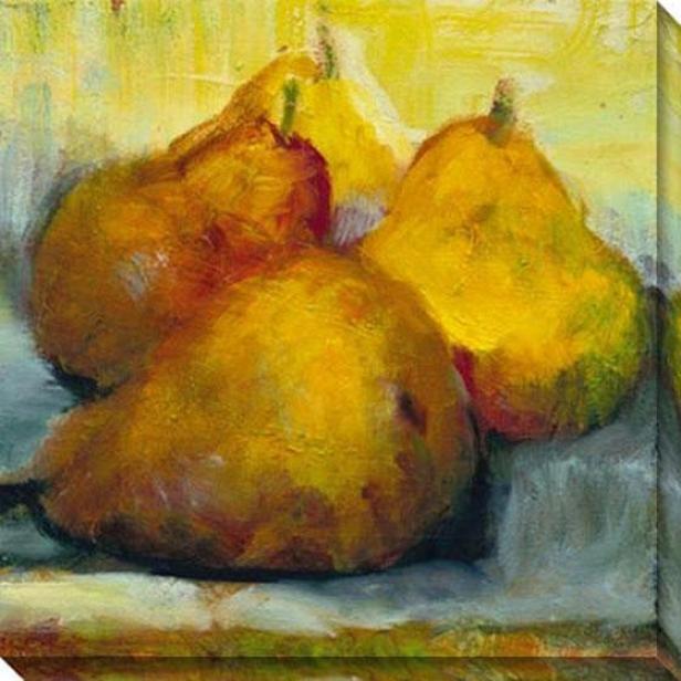 """sun Bathing Pears Canvas Wall Art - 40""""hz40""""w, Gold"""