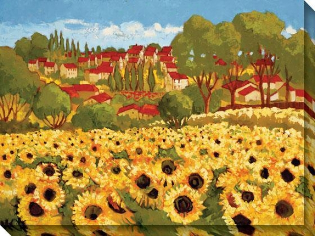 Sunflower Field I Canvas Wall Art - I, Yellow