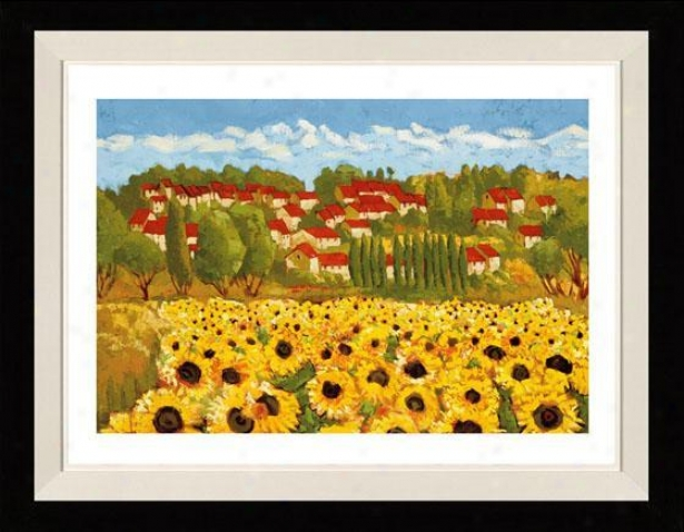 Sunflower Field Ii Framed Wall Art - Ii, Matted Black
