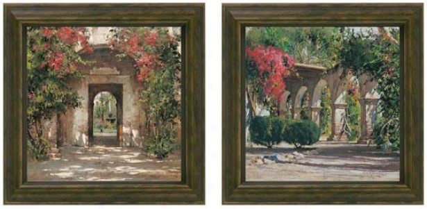 Sunlit Flowered Doorway Framed Wall Art - Set Of 2 - Set Of Pair, New