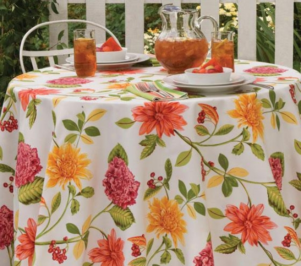 """Illumination Floral Indoor Outdoor Tablecloth - 6""""x102"""", Pink/green"""