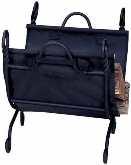 """swirl Log Rack With Canvas Carrier - 21""""hx15""""w, Black"""